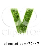 Royalty Free RF Clipart Illustration Of A Grassy 3d Green Symbol Capital V