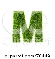 Royalty Free RF Clipart Illustration Of A Grassy 3d Green Symbol Capital M