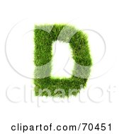 Royalty Free RF Clipart Illustration Of A Grassy 3d Green Symbol Capital D