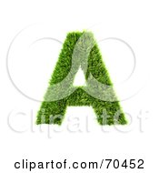 Royalty Free RF Clipart Illustration Of A Grassy 3d Green Symbol Capital A by chrisroll