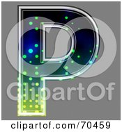 Royalty Free RF Clipart Illustration Of A Halftone Symbol Capital P by chrisroll