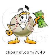 Clipart Picture Of A Baseball Mascot Cartoon Character Holding A Dollar Bill by Toons4Biz
