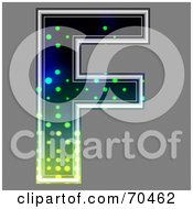Royalty Free RF Clipart Illustration Of A Halftone Symbol Capital F by chrisroll
