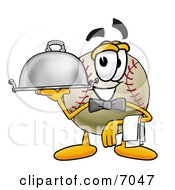 Clipart Picture Of A Baseball Mascot Cartoon Character Dressed As A Waiter And Holding A Serving Platter by Toons4Biz