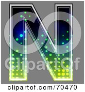 Royalty Free RF Clipart Illustration Of A Halftone Symbol Capital N by chrisroll