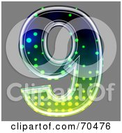 Royalty Free RF Clipart Illustration Of A Halftone Symbol Number 9 by chrisroll