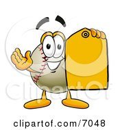 Baseball Mascot Cartoon Character Holding A Yellow Sales Price Tag