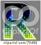Royalty Free RF Clipart Illustration Of A Halftone Symbol Capital R by chrisroll