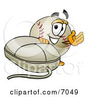 Clipart Picture Of A Baseball Mascot Cartoon Character With A Computer Mouse
