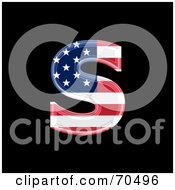 Royalty Free RF Clipart Illustration Of An American Symbol Lowercase S by chrisroll