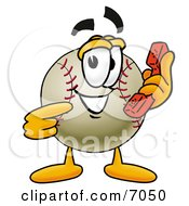 Baseball Mascot Cartoon Character Holding A Telephone