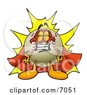 Clipart Picture Of A Baseball Mascot Cartoon Character Dressed As A Super Hero by Toons4Biz