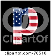 Royalty Free RF Clipart Illustration Of An American Symbol Lowercase P by chrisroll