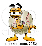 Baseball Mascot Cartoon Character Whispering And Gossiping