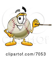 Baseball Mascot Cartoon Character Holding A Pointer Stick
