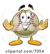 Baseball Mascot Cartoon Character With Welcoming Open Arms