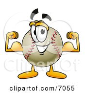 Baseball Mascot Cartoon Character Flexing His Arm Muscles