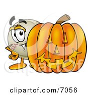 Clipart Picture Of A Baseball Mascot Cartoon Character With A Carved Halloween Pumpkin by Toons4Biz