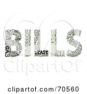 Royalty Free RF Clipart Illustration Of Expense Words Creating The Word BILLS