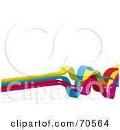 White Background With Colorful 3d Squiggly Lines