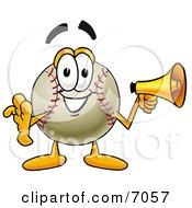 Baseball Mascot Cartoon Character Holding A Megaphone