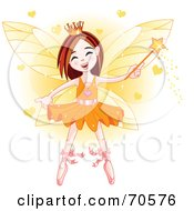 Royalty Free RF Clipart Illustration Of A Fairy Girl In An Orange Tutu Surrounded By Hearts