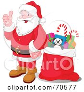 Royalty Free RF Clipart Illustration Of Santa Holding His Thumb Up And Standing By A Sack
