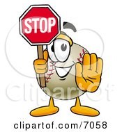 Clipart Picture Of A Baseball Mascot Cartoon Character Holding A Stop Sign by Toons4Biz