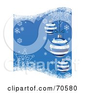 Royalty Free RF Clipart Illustration Of A Blue Christmas Background With Striped Ornaments And Snowflakes by Pushkin