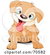 Royalty Free RF Clipart Illustration Of A Cute Beige Puppy Dog Hanging Her Tongue Out