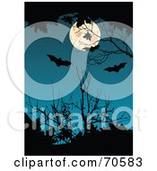 Dark Blue Background With A Full Moon Bats And Silhouetted Branches