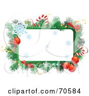 Royalty Free RF Clipart Illustration Of A Christmas Text Box With Garland Candy Canes Baubles And Snowflakes