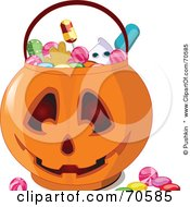 Royalty Free RF Clipart Illustration Of Halloween Candy In A Jack O Lantern Pumpkin Basket