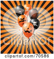 Royalty Free RF Clipart Illustration Of A Bursting Black And Orange Background With Halloween Party Balloons