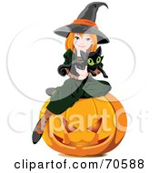 Royalty Free RF Clipart Illustration Of A Cute Halloween Witch Holding A Kitten And Sitting On A Pumpkin