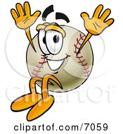 Clipart Picture Of A Baseball Mascot Cartoon Character Jumping by Toons4Biz