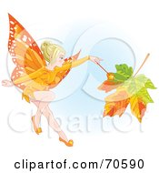 Royalty Free RF Clipart Illustration Of A Fall Fairy Changing A Leaf To Autumn Colors by Pushkin