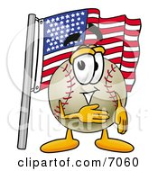 Clipart Picture Of A Baseball Mascot Cartoon Character Pledging Allegiance To An American Flag by Toons4Biz