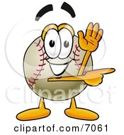 Clipart Picture Of A Baseball Mascot Cartoon Character Waving And Pointing