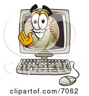 Baseball Mascot Cartoon Character Waving From Inside A Computer Screen