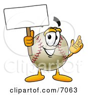 Baseball Mascot Cartoon Character Holding A Blank Sign
