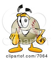 Clipart Picture Of A Baseball Mascot Cartoon Character Pointing At The Viewer by Toons4Biz
