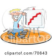 Royalty Free RF Clipart Illustration Of A Grinning Blond Businessman Displaying A Profit Board