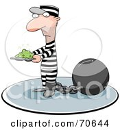 Royalty Free RF Clipart Illustration Of A Convict Carrying A Stinky Plate Of Food by jtoons