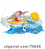 Royalty Free RF Clipart Illustration Of A Surfer Santa Riding A Wave by jtoons