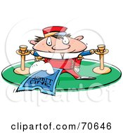 Royalty Free RF Clipart Illustration Of A Movie Theater Usher Holding A Ticket by jtoons
