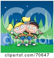 Royalty Free RF Clipart Illustration Of Two Little Brownie Girls Holding A Marshmallow And Weenie On A Roasting Stick At A Camp Site by jtoons