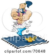 Royalty Free RF Clipart Illustration Of A Muscular Male Genie Hovering Above His Lamp On A Blue Carpet by jtoons