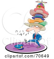 Royalty Free RF Clipart Illustration Of A Businessman Whistling Walking And Wearing Too Many Hats by jtoons