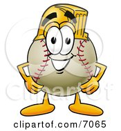 Baseball Mascot Cartoon Character Wearing A Helmet
